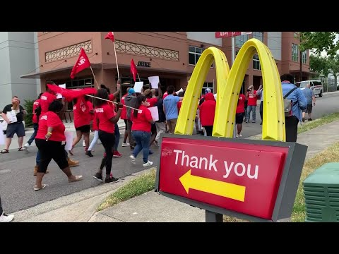 Democratic presidential contender Julian Castro joined a march to a McDonald's restaurant in North Carolina on Thursday to draw attention to workers' efforts to raise the minimum wage and secure other protections. (May 23)