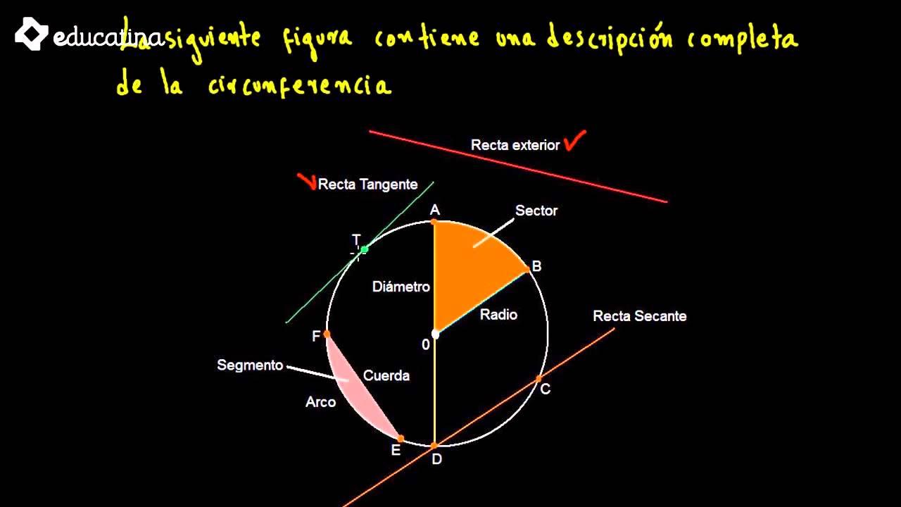 Educatina ngulo y elementos de una circunferencia for Exterior tangente y secante