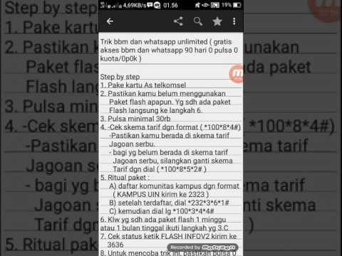 Video Trik bbm dan whatsapp unlimited ( gratis akses bbm dan whatsapp 90 hari 0 pulsa 0 kuota/0p0k )