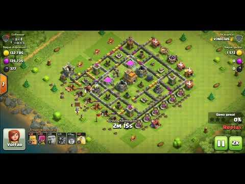 Ataque básico com gigantes Clash oficial clans CV 6