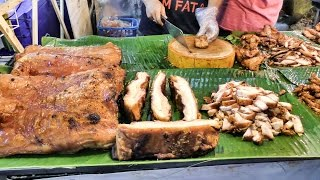 Bangkok Street Food. Fried Chicken and Pork Seen Near Central World and Ploenchit