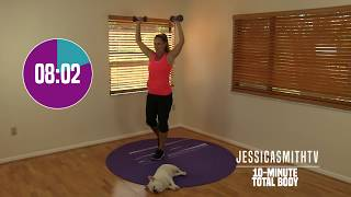 10 Minute Total Body Workout - At Home Strength Training With Dumbbells, Fat Burning, Sculpting by jessicasmithtv
