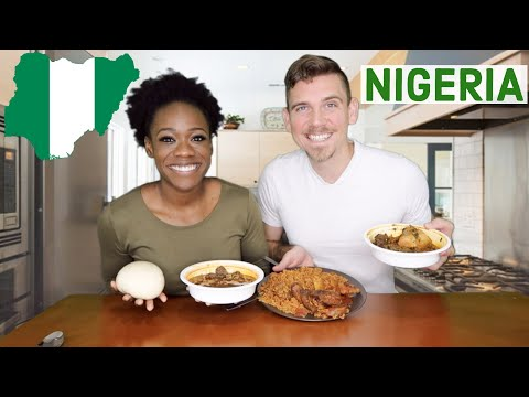 American Couple Tries NIGERIAN FOOD For The FIRST TIME | Jollof Rice, FUFU, Pepper Soup , Okro Soup