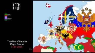 Timeline of National Flags: Europe (1444-2015)