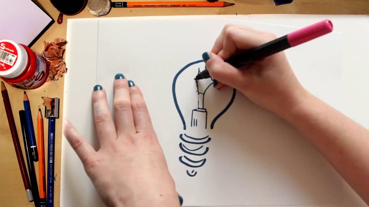 Como dibujar una Bombilla - dibujos para niños