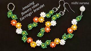 ⚜️Flowery Vines, Seed Bead Earrings    How To Make    Aretes Tutorial Diy (0406)