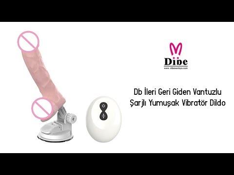 Db İleri Geri Giden Vantuzlu Şarjlı Yumuşak Vibratör Dildo