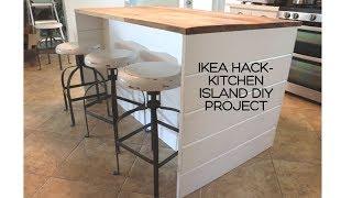 IKEA HACK-DIY IKEA Kitchen Island/Shiplap Sides/Thrifted Wood Countertop