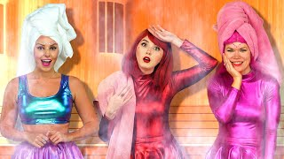 LAST TO LEAVE SAUNA CHALLENGE SUPER POPS. Totally TV Challenge Video.