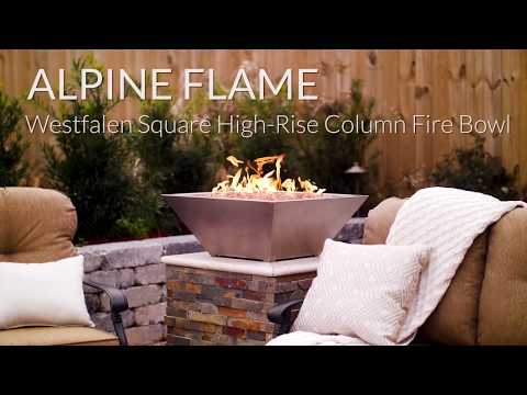 Alpine Flame Westfalen Square High-Rise Column Fire Bowl-Stainless Steel