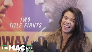 Claudia Gadelha Asked About 'Wanting Brian Ortega's Baby' Comment || UFC 231 Media Scrum