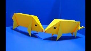 Бегающие свинки оригами. 🐸 Как сделать поросенка из бумаги? ПОДЕЛКИ ДЛЯ ДЕТЕЙ 2019