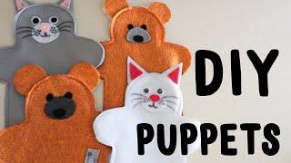 Easy DIY Bear And Cat Hand Puppets   Felt Puppets   OCC Shoebox Craft   Kids Craft