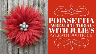 How To Make A Poinsettia Wreath / Poinsettia Flower / Christmas Wreath Tutorial