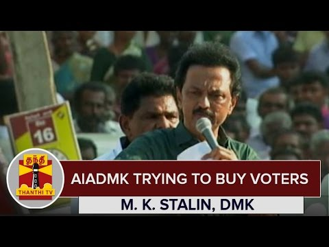 AIADMK-trying-to-buy-Voters--M-K-Stalin-DMK-Treasurer--Thanthi-TV