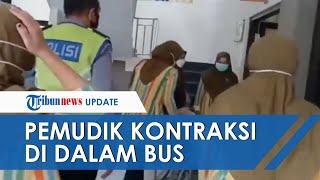 Detik detik Pemudik Ibu Hamil Kontraksi di dalam Bus, Petugas Satlantas Temanggung Gerak Cepat