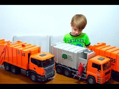 Bruder Мусоровоз с сюрпризом Магическое превращение Bruder Garbage Truck Magical transformation видео