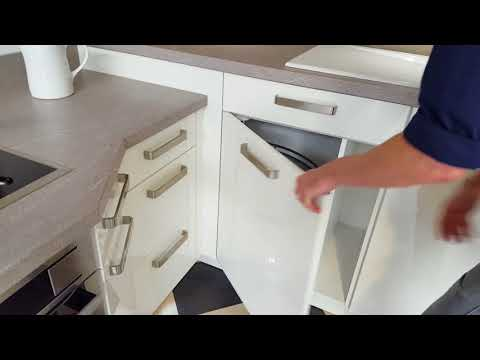 Elegante L-Küche in weiß Hochglanz Lack Modell 2021