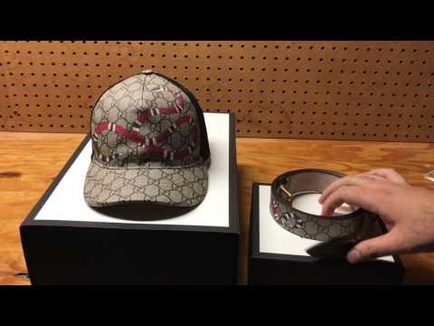 Gucci Snake print GG Supreme Belt And Baseball Hat Review