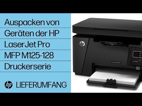 Auspacken von Geräten der HP LaserJet Pro MFP M125-128 Druckerserie