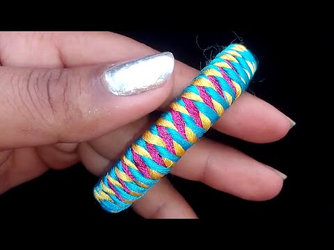 New Design Silk Thread Bangles With Double  colour || easy bangle design || 2020 new bangle design