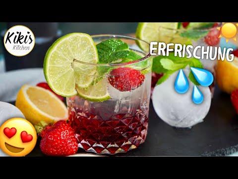 1- Minuten -Cocktail 🍹 Erdbeer-Holunderblüten-Cocktail fertig in nur einer Minute
