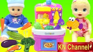 ĐỒ CHƠI NHÀ BẾP MỚI CỦA BÚP BÊ BABY ALIVE DOLL | Fruit vegetable wash and cutting kitchen toys