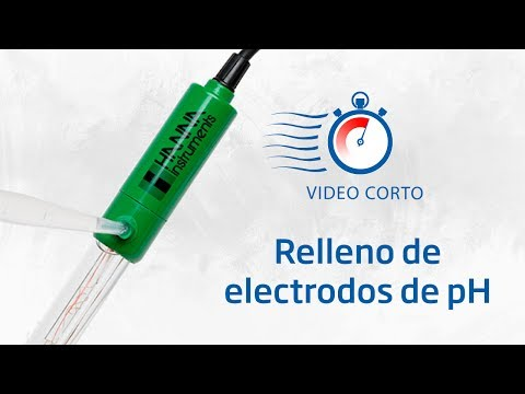 Relleno de electrodos de pH y retiro del tapón para trabajar