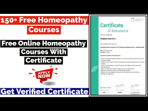 Free Online Homeopathy Courses with Certificate | Free Medical Courses | Free Certificate