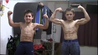 Giuliano and Claudio 10 and 12 years old 90 degree pushups
