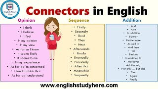 Connectors in English | List of Sentence Connectors in English | Transition Words List