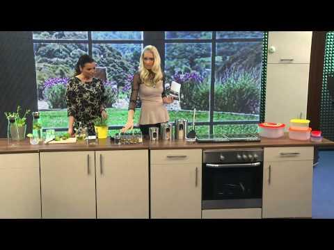 Cucina di Modena Designer-Glaskaraffe mit integriertem Sieb, 1,2 l