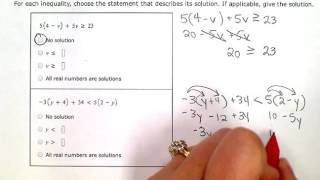 ALEKS:  Solving inequalities with no solution or all real numbers as solutions (KC)