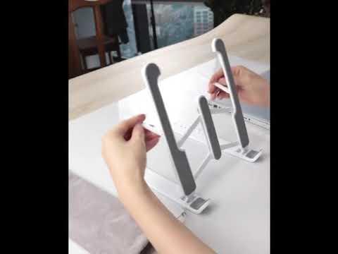 Подставка для ноутбука / планшета складная регулируемая Laptop Stand чёрная (LS-20541) Video #1
