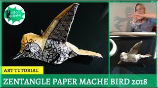 Zentangle // Paper mache bird ornament