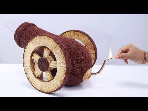 Lighting a Miniature Cannon Made From 50,000 Matches