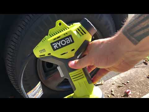 Ryobi 18 Volt Cordless One Plus + Power Inflator Flat Car Tire test and review!