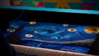 Starry Night Thread Painting Art Quilt