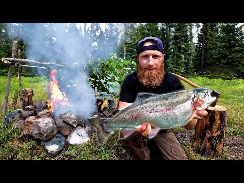 Cooking Fish on Primitive Bushcraft Smoker in the Wild | Catch, Clean, Cook in Survival Fishing