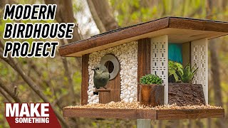 How To Make A Mid-century Modern Frank Lloyd Wright Birdhouse | Woodworking Project