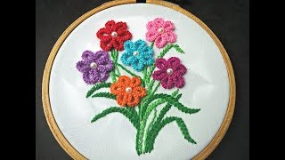 Hand Embroidery - Cast On Stitch Flower Embroidery Design - Brazilian Embroidery For Beginners