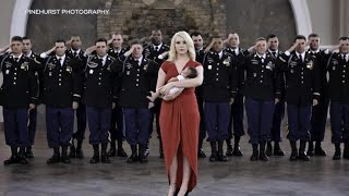 """Army """"brothers"""" of fallen soldier step in for photoshoot with his newborn baby"""