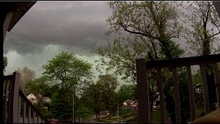 4/26/2016 -- Rotation passes DIRECTLY overhead -- St. Louis Missouri severe storm time lapse