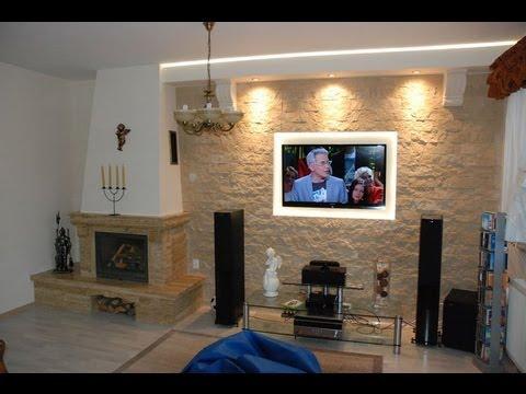 Ściana Tv w salonie z kominkiem - Kamień dekoracyjny-ozdobny na ścianie telewizyjnej - TvWande
