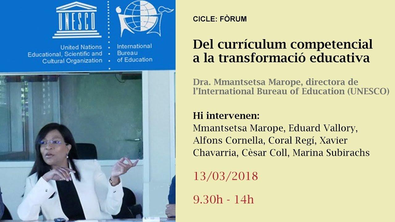 Del currículum competencial a la transformació educativa. Dra. Mmantsetsa Marope, directora de l'International Bureau of Education (UNESCO) (reproducció en directe)