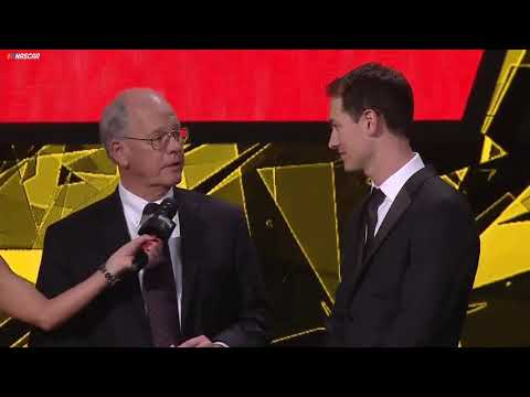 NASCAR's Jim France presents Joey Logano with championship ring