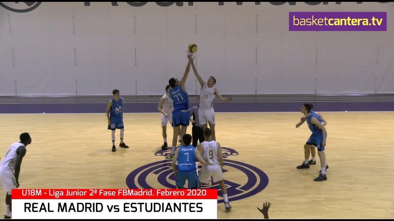 U18M - REAL MADRID vs ESTUDIANTES.- Liga Junior FBMadrid 2ª Fase. 2020 (BasketCantera.TV)