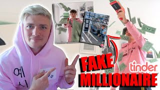 i FAKED my 16yr old brother was a MILLIONAIRE on TINDER for 24HRS! *crazy reaction!*