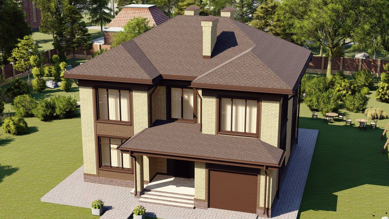 Проект красивого большого дома из газобетона 190 м2
