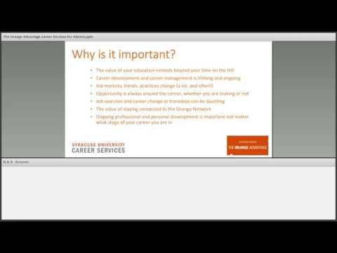 Alumni Webinar Series: The Orange Advantage, Alumni Career Services